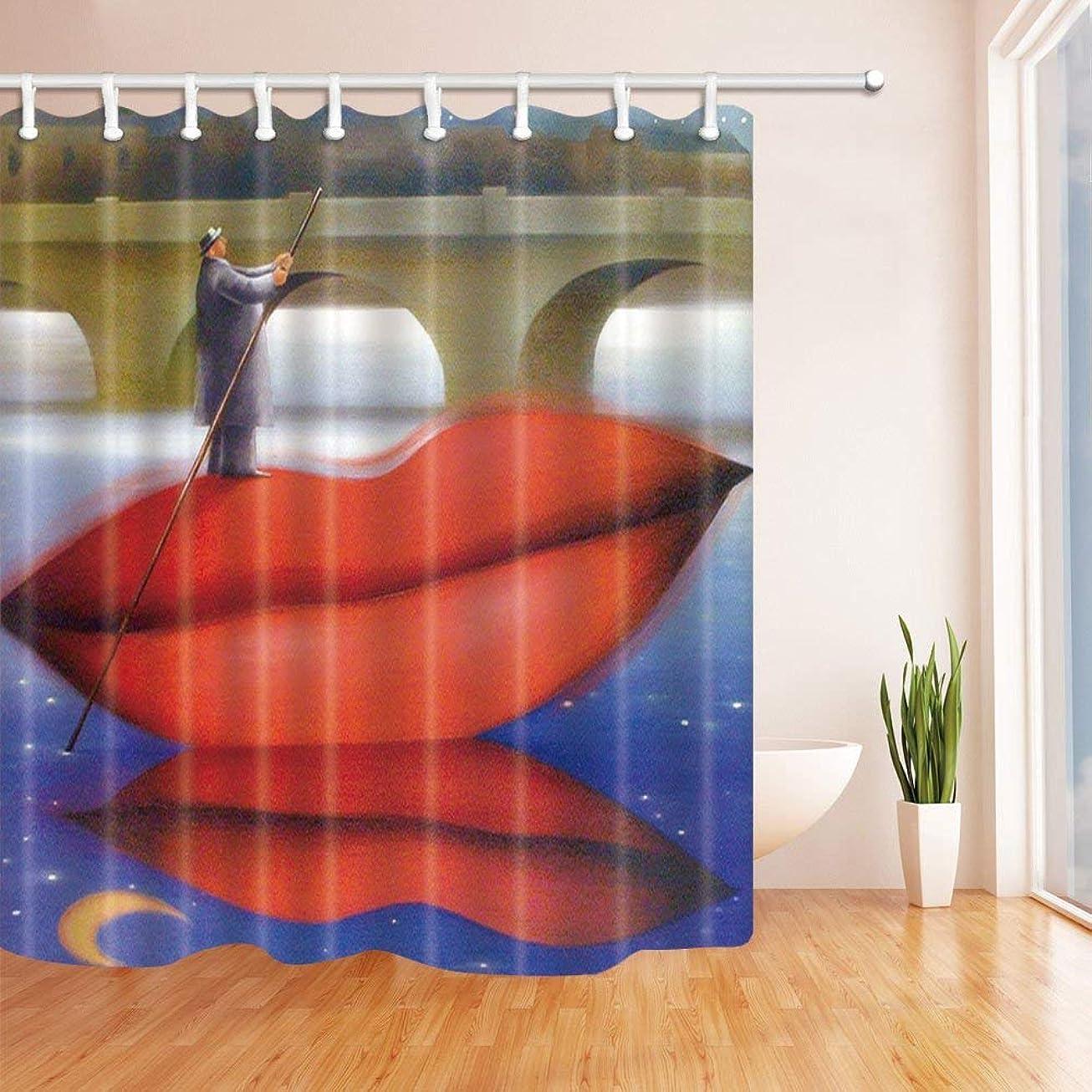 幸運嵐のスリーブGooEoo クリエイティブマンは、赤い唇シャワーカーテン、ポリエステル生地の防水バスカーテン、71X71インチ、シャワーカーテンフック、赤のように船に立って