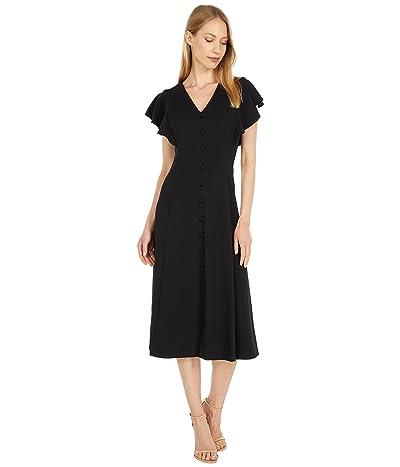 Calvin Klein Button Front A-Line Dress with Flutter Sleeve