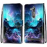 nancencen Kompatibel mit Asus Zenfone GO TV / ZB500KL / KG Handyhülle, PU Leder Flip Cover Wallet Hülle (Anti-Fall) Anwendbar Asus GO TV / ZB500KL / KG - Wellen