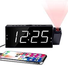 "OnLyee Projection Digital Alarm Clock   Loud Ceiling Clock for Bedroom   Alarm Large 7"" LED Display & Dimmer   USB Chargin..."
