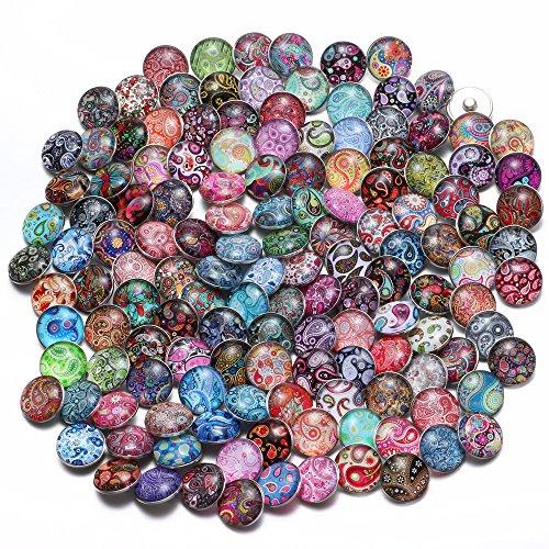 Soleebee Gemischt zufällig Glas Aluminium Click Button fit 5.5mm-Knopfloch Schmuck Charms Set 50 Stück - Cashewnuß Blumen
