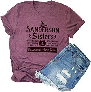 Chulianyouhuo Sanderson Sisters Print T Shirt Women Halloween Hocus Pocus Tees Funny Graphic Tops