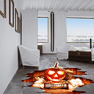 Halloween Floor Sticker PVC 3D Decorative Scary Pumpkin Ghost Hand Bats Spider Wall Decal Wall Sticker Halloween Eve Decor Party Supplies Home Decoration (A)
