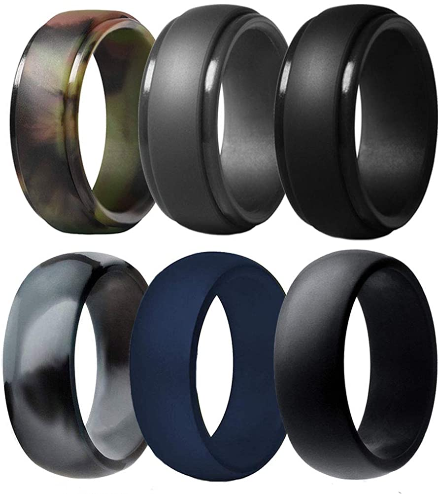 Multi Pack Affordable Silicone Rubber Wedding Bands Durable Comfortable Rings cundo Silicone Wedding Ring for Men