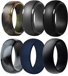 حلقه ازدواج سیلیکونی مردانه ، 6 بسته بندهای عروسی لاستیکی سیلیکونی قابل تنفس حلقه سیلیکون با دوام - عرض 8.7 میلی متر (کامو ، آبی تیره ، خاکستری تیره ، مشکی)