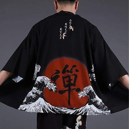 Hombres Yukata Haori Japonesa Kimono Hombres Chaqueta De ...