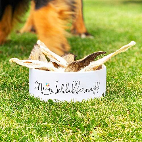 CADOURI – Keramik Hundenapf Futternapf Wassernapf mit Schriftzug MEIN SCHLABBERNAPF – 1.300 ml - 2