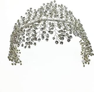 ROSEEDEN Handmade Silver Wedding Head Piece Beaded Rhinestone Bridesmaid Headband Bridal Hair Accessories for Woman