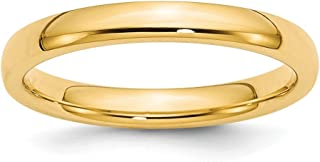 14K Yellow Gold Wedding Band Ring Comfort Domed Polished 3 mm 3mm Comfort-Fit Band