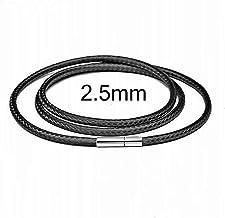 40-80 cm 1-3mm zwart lederen koord ketting koord wax touw kanten ketting met roestvrijstalen roterende sluiting voor DIY k...