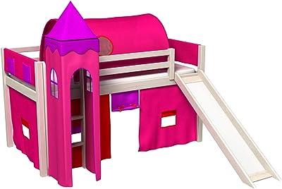 Cama infantil 90x200cm, con tobogan para la parte alta, con torre y tunel, cortina, somier para colchon: Amazon.es: Hogar
