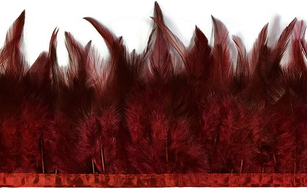 1 Yard - Burgundy Rooster Neck Award Saddle OFFicial mail order Feather Wholesale T Hackle