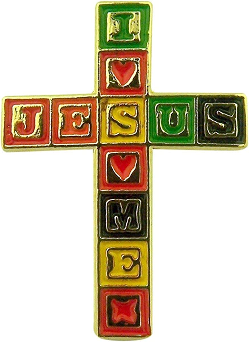 SINGER Gold Tone and Enamel Jesus Loves Me Blocks Cross Lapel Pin, 1 Inch