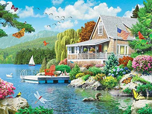 DIY 5D Diamante Pintura por Número Kit, Jardín junto al lago Diamond Painting para Adultos y Niños Pared de la Casa Decoración