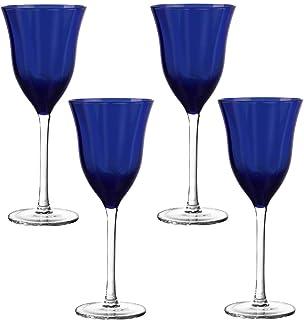 Qualia Glass Q121004 Merician Set of 4 Blue Wine Glasses, 8 oz