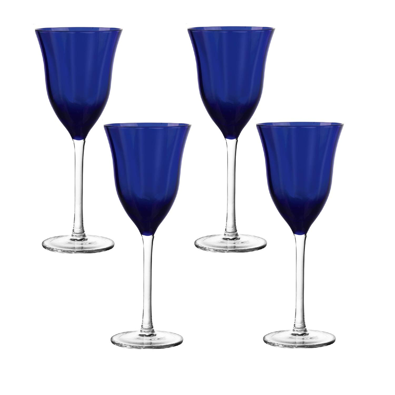 Water Glass Set of 4, 2 sets available Ivima Purple Diamond Point Knob Stemmed Wine