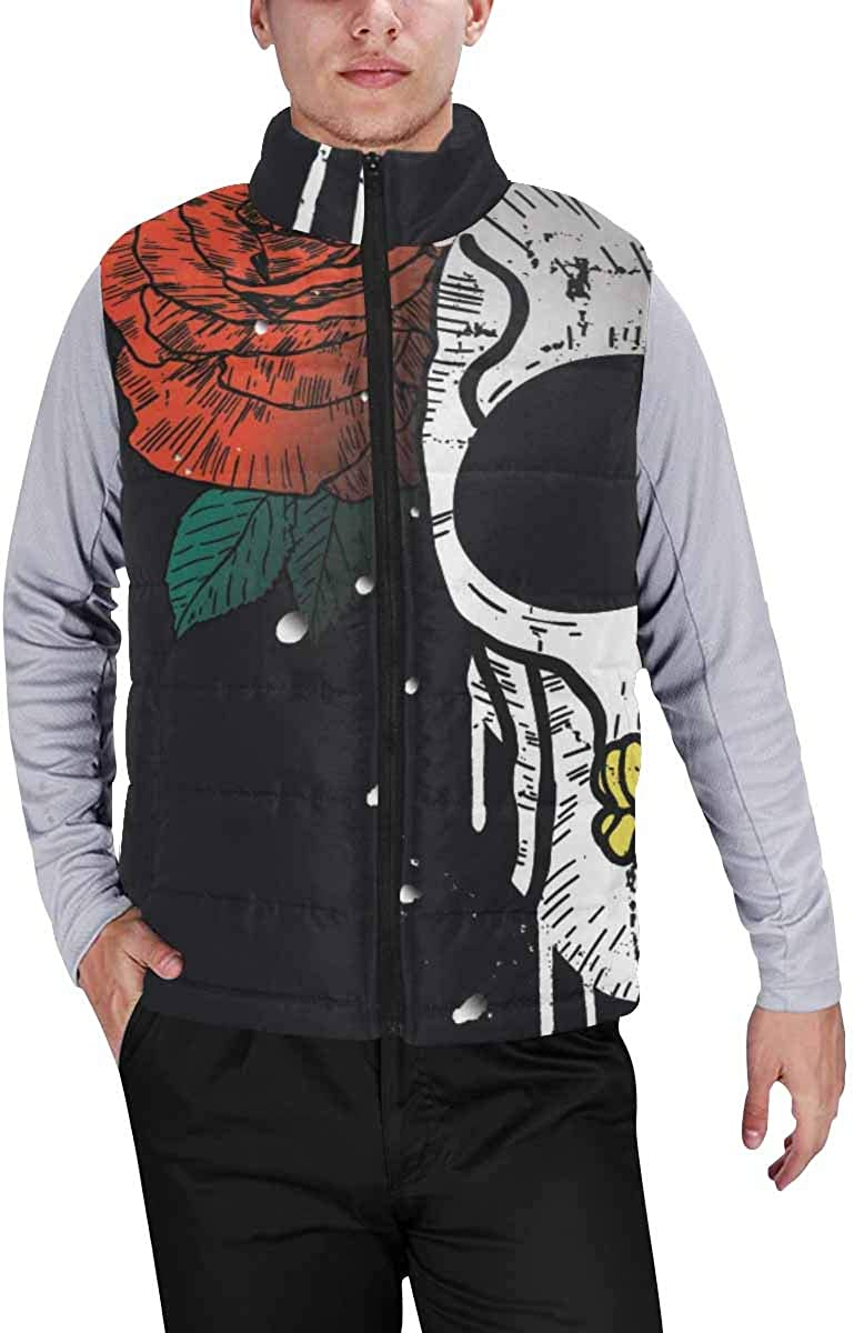 InterestPrint Men's Winter Warm Outdoor Padded Puffer Vest Vintage Style Skull and Rose XL
