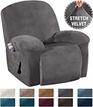 H.VERSAILTEX Recliner Chair Cover Velvet Plush 1-Piece Recliner Covers for Large Recliner, Soft Thick Luxury Velvet Furniture Protector with Elastic Bottom, Anti-Slip Foams Attached (Recliner, Grey)