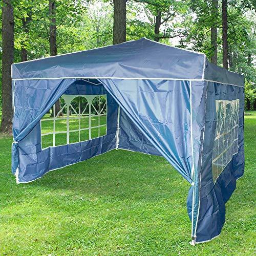 Skylantern - Cenador plegable de jardín (3 x 3 m + 4 paredes azules, estructura telescópica de tela 160 g/m2 – Barnum plegable