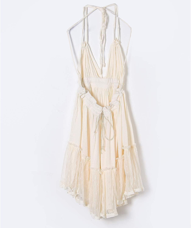 VERGOODR Women's Summer Boho Bohemian Deep V Neck Sexy Patchwork Mini Short Backless Beach Dressess