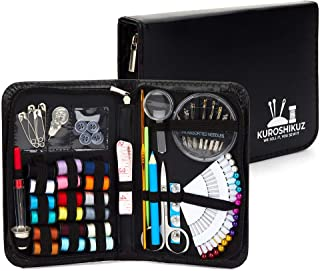 Kuroshikuz Premium Sewing Kit for Kids & Adults   Organized 87-Piece Set with Sewing Threads, Needles, Buttons, Notions   Mini Portable Kit for Emergency Repairs at Home or During Travel