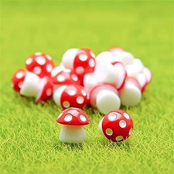 Danmu 10pcs Mini PVC Mushrooms Miniature Figurines, Fairy Garden Accessories, Fairy Garden Animals, Fairy Garden Supplies, Micro Landscape - Plant Pots, Bonsai Craft Decor (Red)