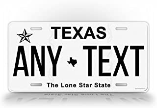 SignsAndTagsOnline Texas Personalized License Plate Customized Auto Tag Any Text TX 6x12 Aluminum Sign