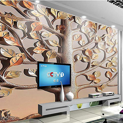 Fotobehang 3D reliëfboom 400x280 cm vliesbehang wanddecoratie design wandbehang wanddecoratie voor woonkamer slaapkamer TV achtergrond wand