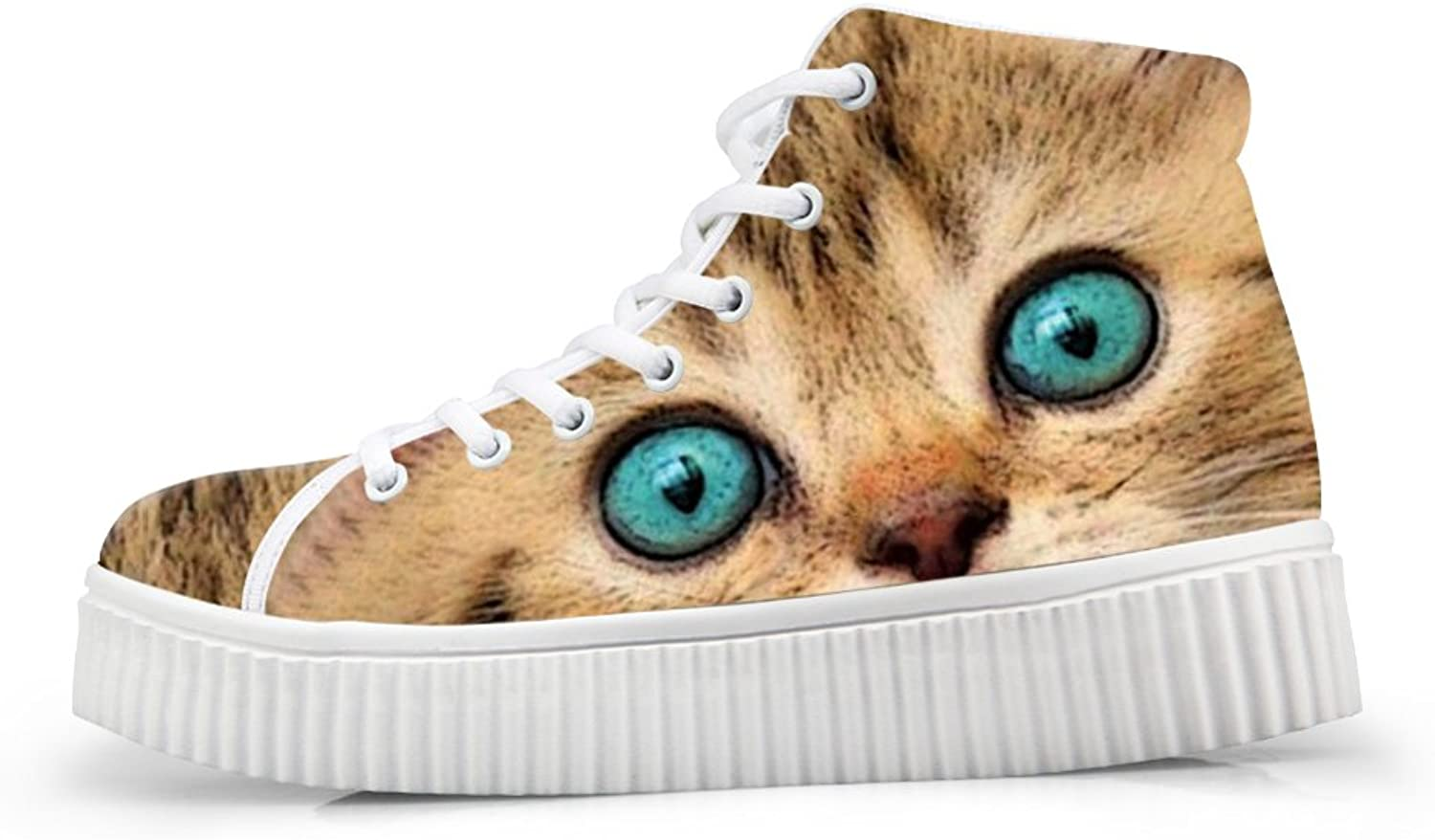 HUGS IDEA Fashion Teal color Eye shoes Casual Cat Face Sneakers with Heels Footwear US11