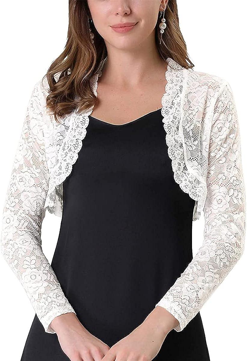 Women's Lightweight Long Sleeve Lace Crochet Bolero Shrugs Open Front Cardigan for Summer
