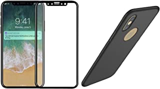 EiZiTEK EiZiShield Series Screen Protector Glass Bundle with Case for Apple iPhone Xs, Full Cover Durable Shield and Eizicase, Black