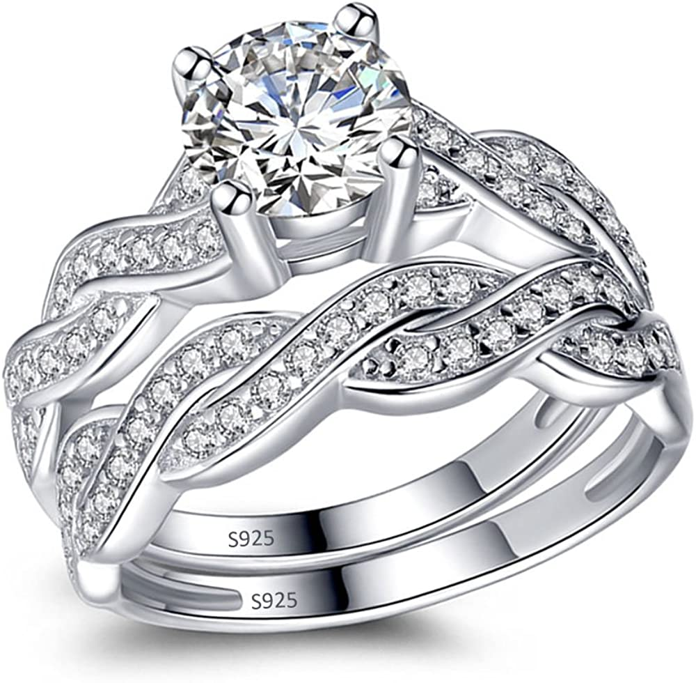 MABELLA 925 Solid Sterling Silver En 2020春夏新作 Bridal Set お買い得 Matching Wedding