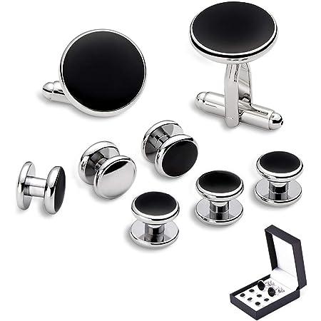 Cufflinks stainless steel classic black grey Stud gift men/'s classic black grey studs gift
