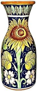 CERAMICHE D'ARTE PARRINI - Italian Ceramic Art Pottery Vase Jar Vessel Decorated Sunflower Hand Painted Made in ITALY Tuscan