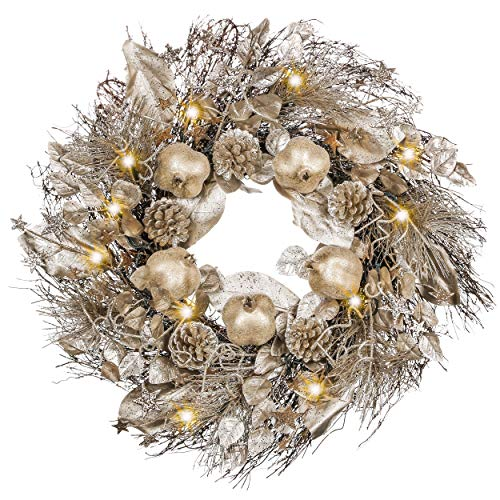 Valery Madelyn Pre-Lit 24 Inch Elegant Gold Christmas Wreath for Front Door with Lights, Pomegranates, Pine Cones and Gold Leaves, Battery Operated 20 LED Lights