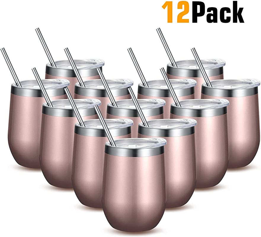 Fungun 12 Pack Unbreakable Drink Ware Stemless Wine Tumbler 12 Oz Stainless Steel Triple Insulated Vacuum Wine Glass Cup With Straws For Wine Coffee Champagne Cocktails And Beer Rose Gold