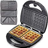 Waffles piastra 3 in 1 Yabano, 800W tostapane per toast, piastra waffles e pancake, con 3 tostiera piastre removibili, Indicatori Luminosi, Rivestimento Antiaderente