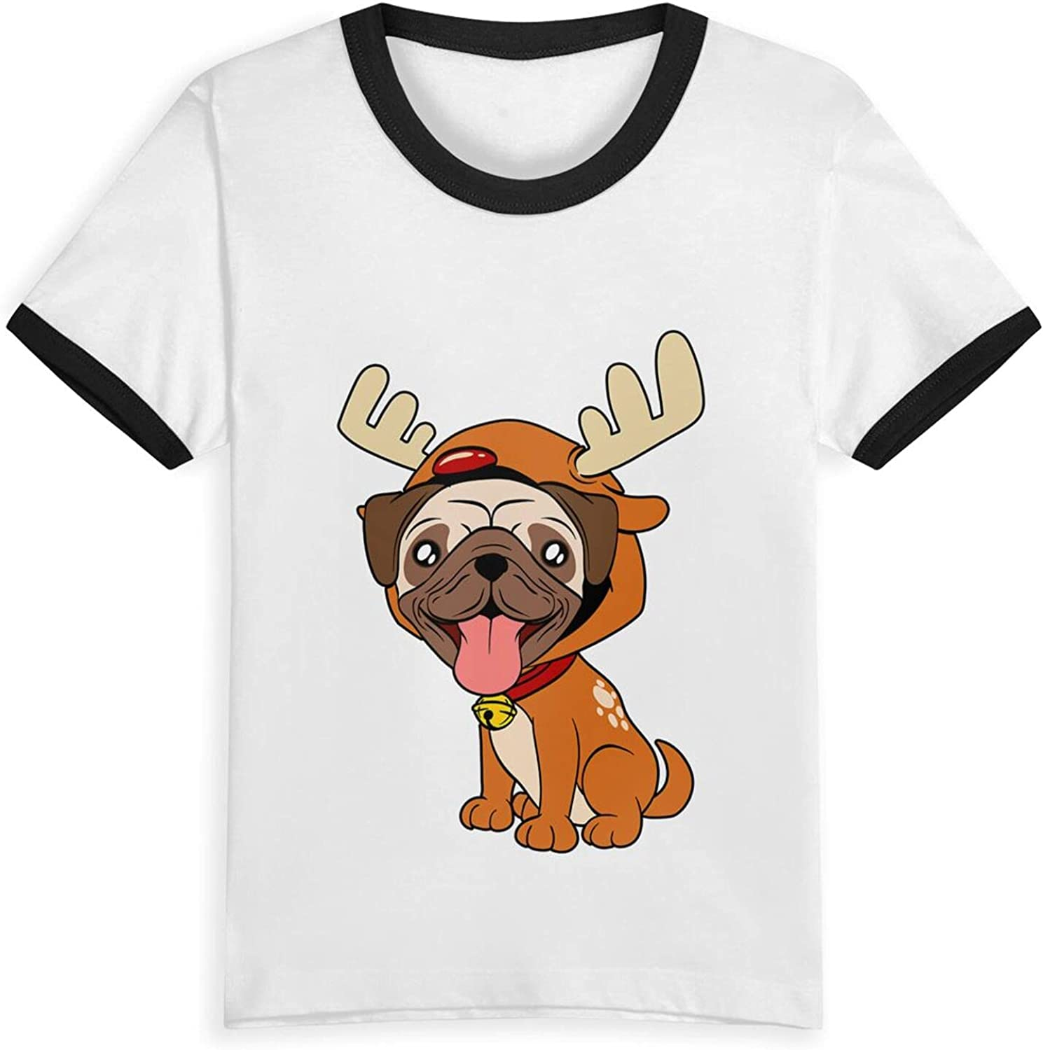Pug Christmas Dog T-Shirts Novelty for Girls Tees with Cool Designs