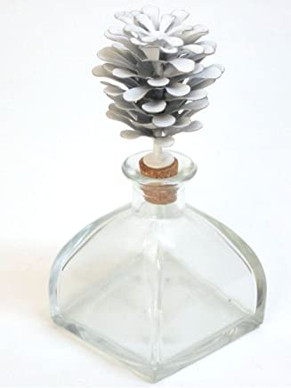 MONTEMAGGI Botella Cuadrada Decorada con Metal pi?a 9 X 9 X 20 cm