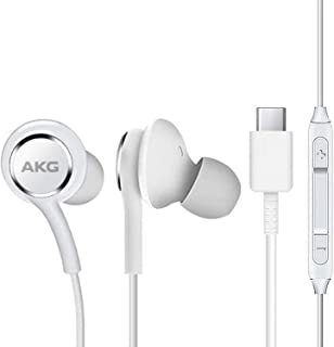 UrbanX 2020 Auriculares para Samsung Note 10/20 y S20 con conector tipo C | Diseñado por AKG con micrófono y botón de volumen (blanco)