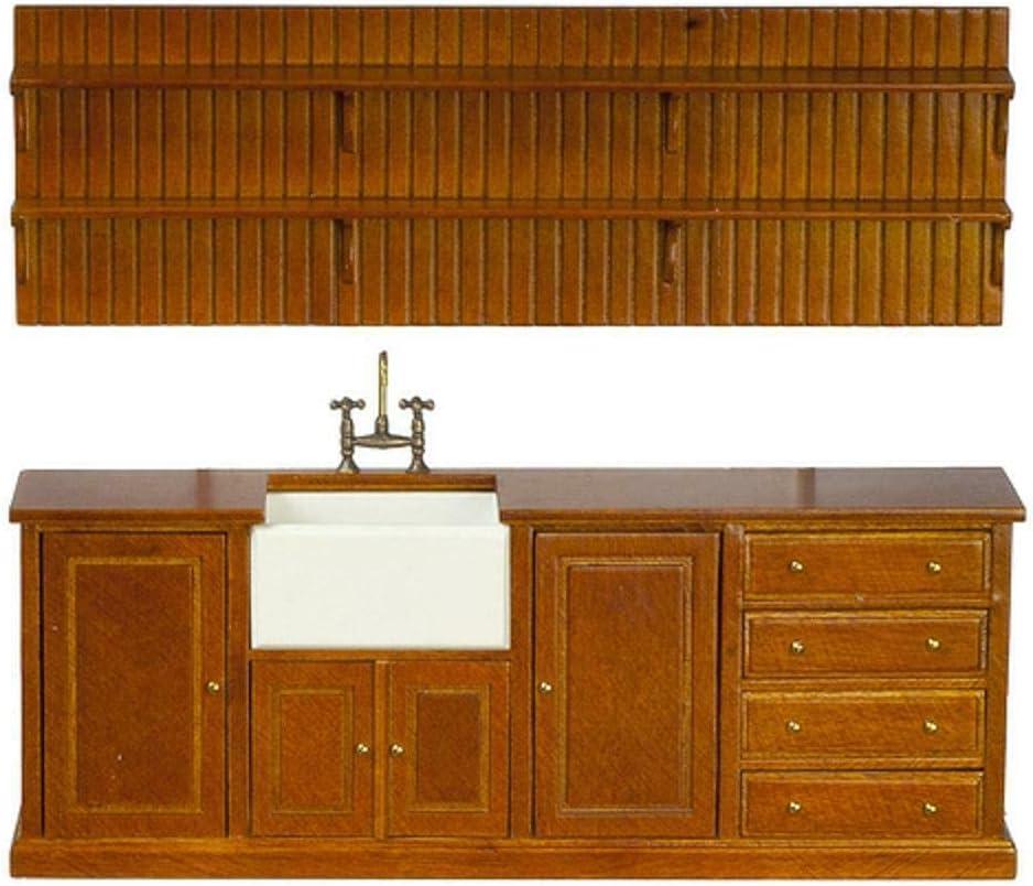 Melody Jane lowest price Dollhouse Walnut Belfast Sink Shelf JB Unit In stock Wall and