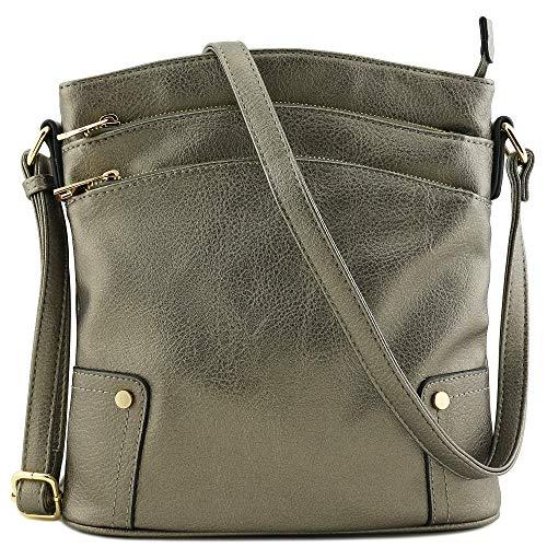 Triple Zip Pocket Large Crossbody Bag (Pewter)