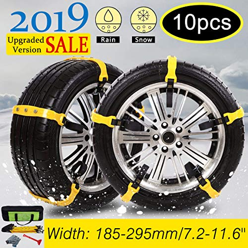 Besteamer Snow Chains Car Anti Slip Tire Chains Adjustable Anti-Skid Chains Car Tire Snow Chains Fits for Most Car/SUV/Truck-Set of 10 Width 185-295mm/7.2-11.6'' (Snow Chains)