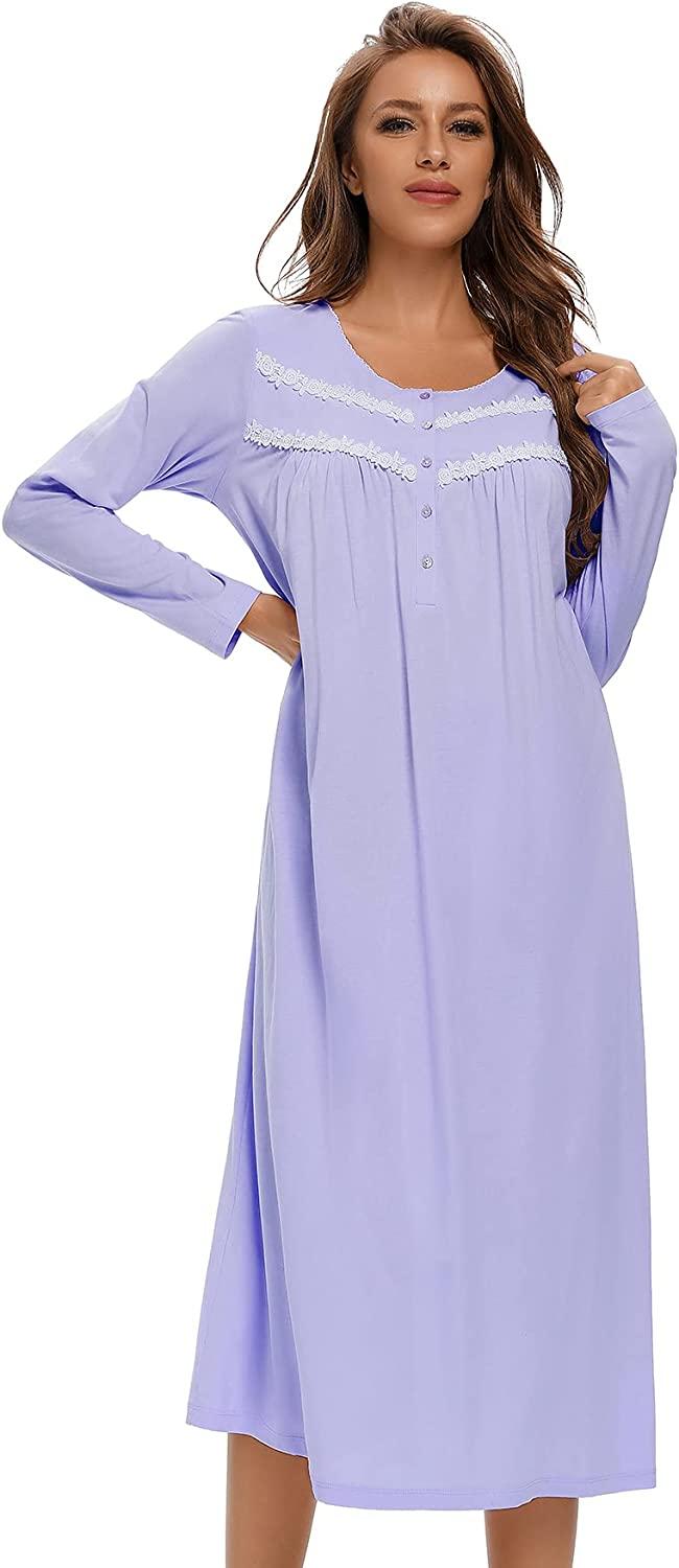 IZZY TOBY 100% Cotton Nightgowns Nightgown Long for Women Sleeve It is A surprise price is realized very popular