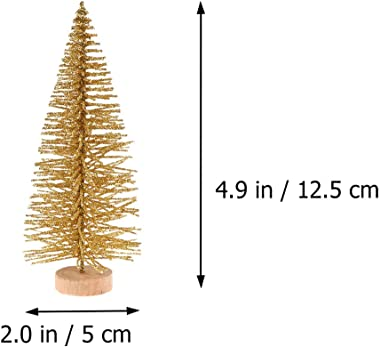 Toyvian 48pcs Mini Christmas Trees Miniature Fake Artificial Trees for Christmas Holiday Decoration DIY Tabletop Model (Gold)