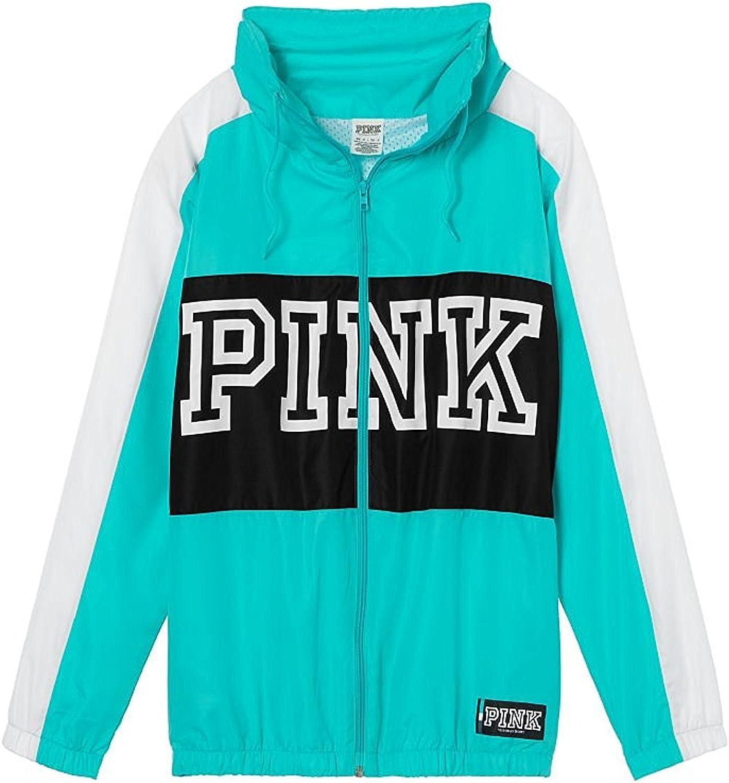 Victoria Secret Pink Anorak Jacket High Neck Full Zip, bluee & Black, XSS