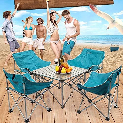 Mesa de picnic plegable de viaje para 4 personas, sillas de mesa de camping plegables portatiles Mesas de comedor enrollables portatiles ligeras para exteriores para senderismo Picnic de pesca,Azul
