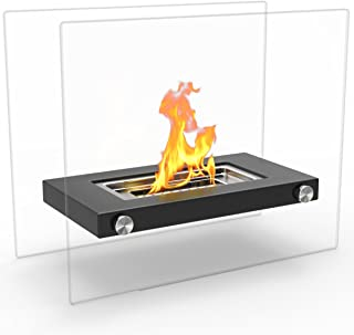 Regal Flame Monrow Ventless Indoor Outdoor Fire Pit Tabletop Portable Fire Bowl Pot Bio Ethanol Fireplace in Black - Realistic Clean Burning like Gel Fireplaces, or Propane Firepits