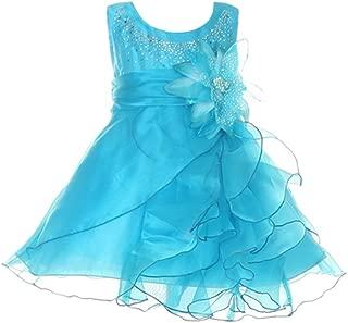 Dazzling Two Tone Cascading Rhinestone Crystal Organza Long Ruffle Baby Dress