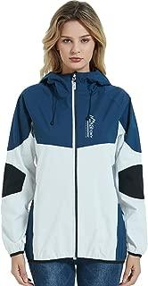 Arasiyama Women's Waterproof Breathable Raincoat with Pocket Outdoor Hooded Rain Jacket Lightweight Windbreaker